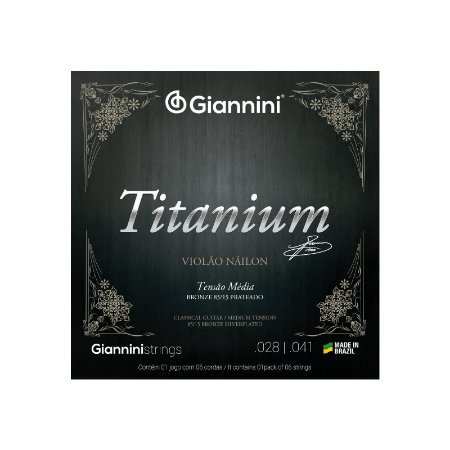 Encordoamento Violão Náilon 6 cordas Giannini Titanium 85/15 Média