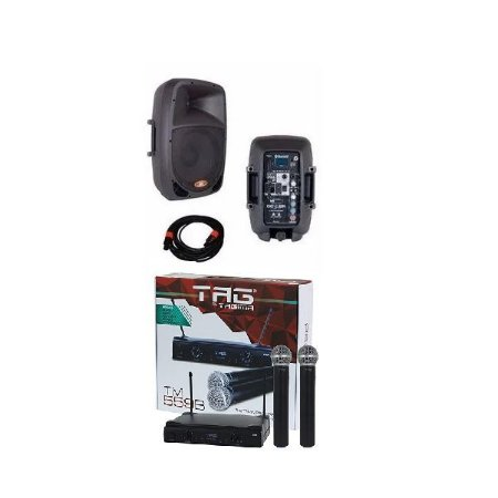 Kit Caixas de Som Ativa + Passiva DONNER DR808 + Cabo 5 metros + Microfone Sem Fio