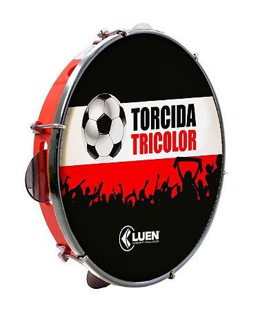 """Pandeiro Luen Torcida Tricolor 10"""" Polegadas"""