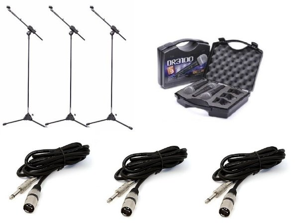 Kit 3 Pedestal p/ microfone + 3 Microfones Donner DR3100 + 3 cabos + 3 Cachimbos