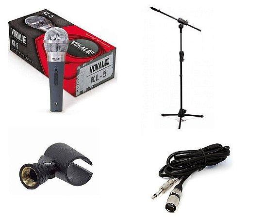 Kit Microfone Vokal Kl-5 + Cachimbo + Pedestal + Cabo