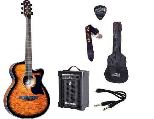 Kit Violão Strinberg AW51  + Capa + Acessórios + caixa amplificada - Sunburst