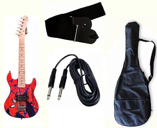 Guitarra Infantil Homem Aranha + Capa + Correia + Cabo