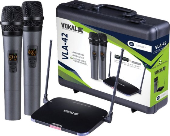 Microfone Duplo Sem Fio Profissional Uhf Vokal Vla-42