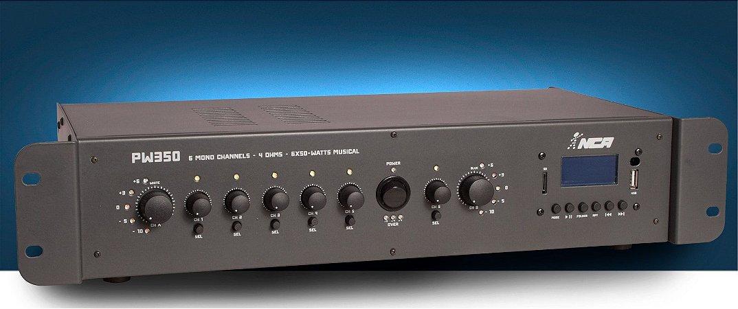 Amplificador Nca Pw350 Som Ambiente 6 Canais 180w Setorizado