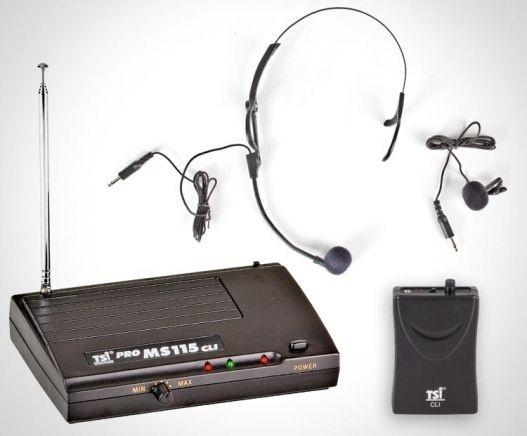Microfone sem fio TSI MS115 CLI TSI: cabeça; lapela ou instrumentos