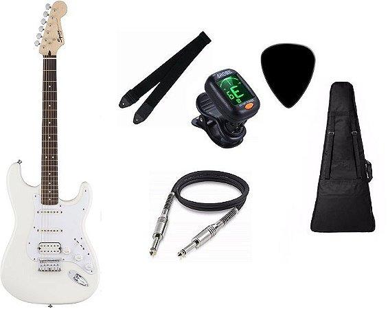 Kit Guitarra Fender Squier Bullet Stratocaster Artic White CAPA AFINADOR CORREIA CABO PALHETA