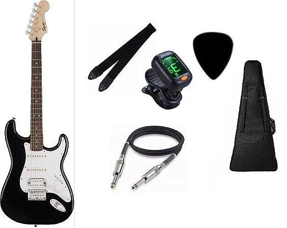 Guitarra Fender Squier Bullet Stratocaster Preta CAPA AFINADOR CORREIA CABO PALHETA