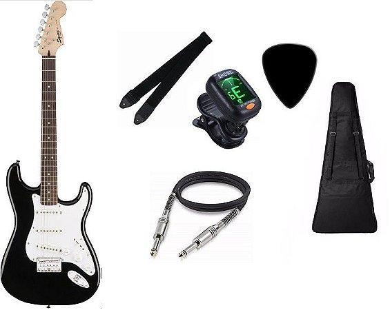 Guitarra Fender Squier Bullet Stratocaster Preta 3 SINGLES CAPA AFINADOR CORREIA CABO PALHETA