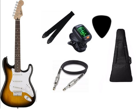 Kit Guitarra Fender Squier Bullet Stratocaster 3 SINGLES BROWN SUNBURST