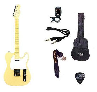 Kit Guitarra Strinberg Telecaster TC120s Branca Vintage