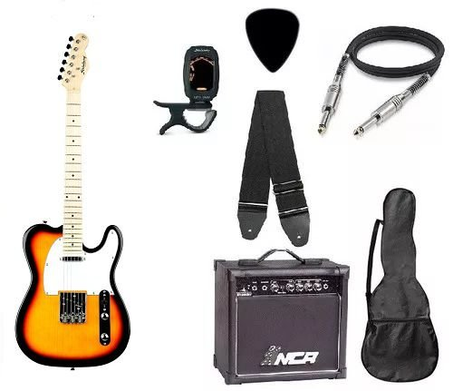 Kit Guitarra Strinberg Telecaster Tc120s Sunburst com Amplificador