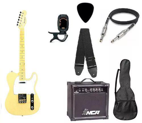 Kit Guitarra Strinberg Telecaster Tc120s Branca com Amplificador