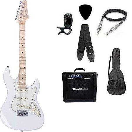 Kit Guitarra Strato Strinberg STS-100 com acessórios + amplificador Branca