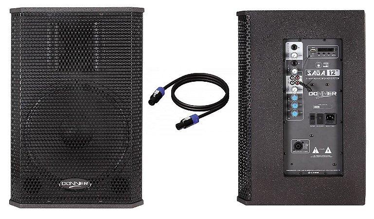 """Kit Caixa Ativa + Passiva 12"""" 250W SAGA USB BT CABO"""