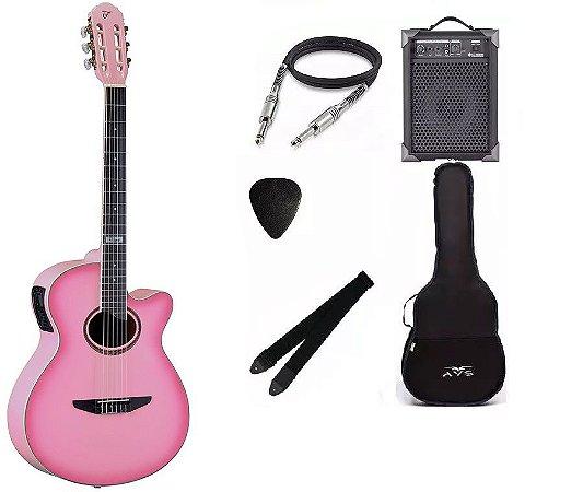 Kit Violão Tagima Nylon Vegas Tuner Pink Com Lx40