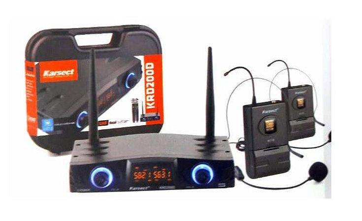 Microfone Karsect Sem Fio Headset Duplo UHF KRD200 DH
