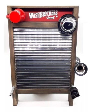 Washboard Torelli TWB38 WashBrothers Inox Pequeno Percussão Tábua de Lavar com Sino e Buzina