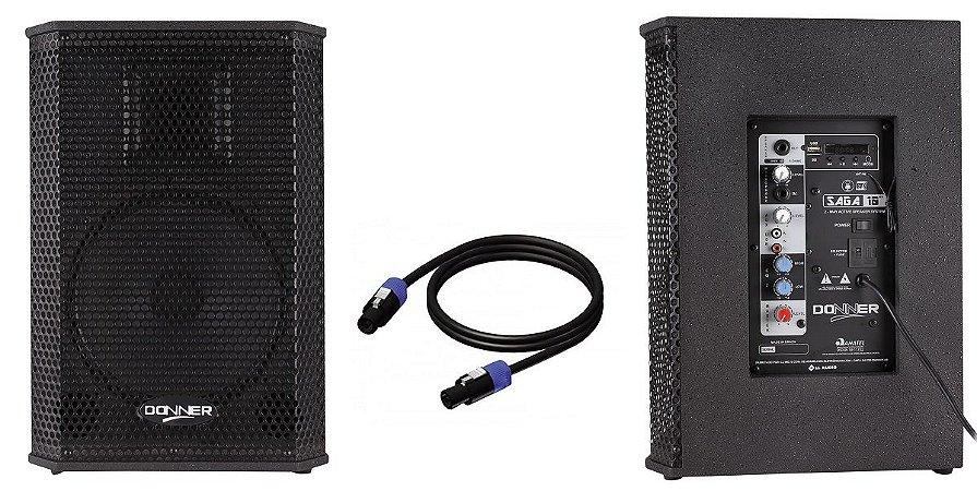 """Kit Caixa Ativa + Passiva 10"""" 200W SAGA USB BT CABO"""