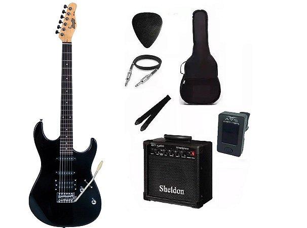 Kit Guitarra Memphis By Tagima MG260 Black Com Amplificador