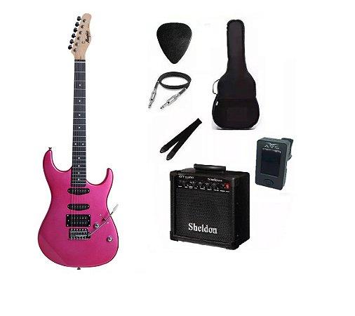 Kit Guitarra Memphis By Tagima MG260 Pink Com Amplificador