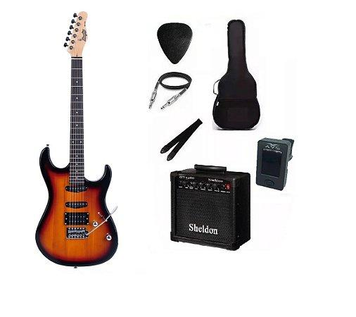 Kit Guitarra Memphis By Tagima MG260 Sunburst Com Amplificador