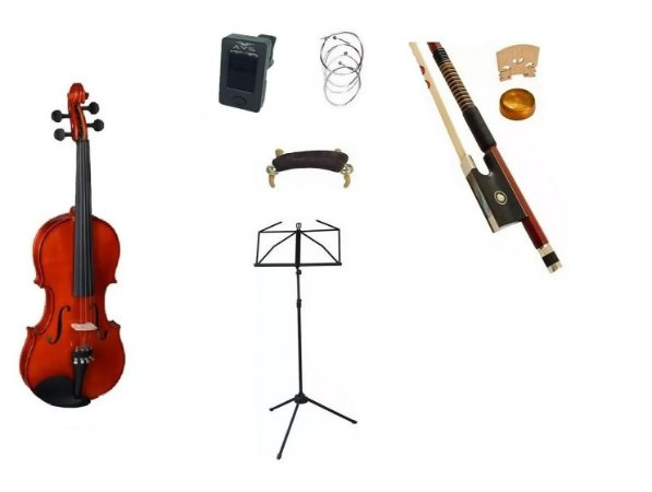 Kit Violino Vignoli 4/4 Maciço Vig344 Estojo Arco breu