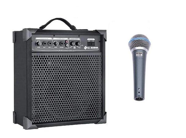 Caixa De Som Amplificada Multi Uso Lx60 + Microfone C/ Fio