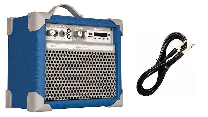 Caixa de Som Amplificada Multiuso UP!5 BLUETOOTH - Azul CABO P10 BRINDE