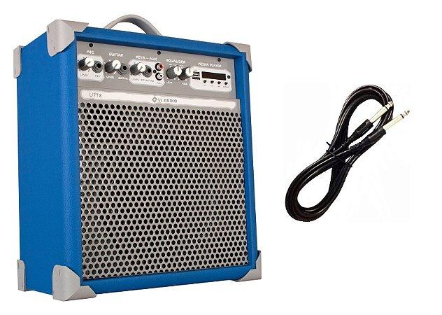 Caixa de Som Amplificada Multiuso UP!8 BLUETOOTH - Azul CABO P10 BRINDE