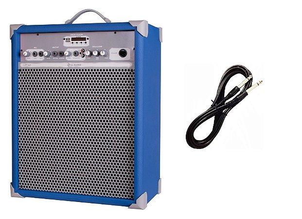 Caixa de Som Amplificada Multiuso UP!10 BLUETOOTH - Azul CABO P10 BRINDE