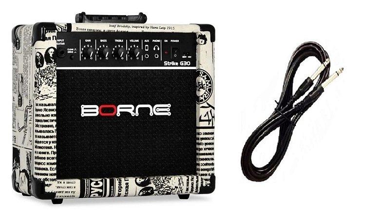 Amplificador Para Guitarra Borne G30 15w Rms Jornal Cabo P10 Brinde