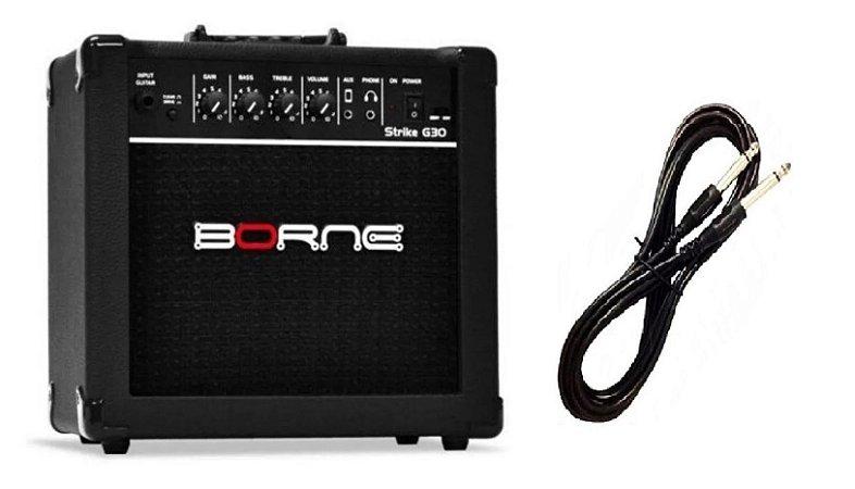 Amplificador Para Guitarra Borne G30 15w Rms preto Cabo P10 Brinde