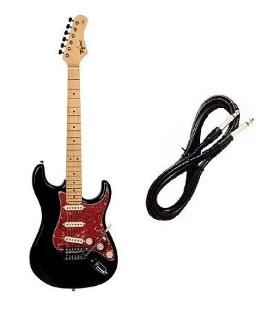 Guitarra Tagima TG530 Strato Preta com escudo Vermelho Cabo P10 Brinde