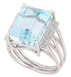 Anel de Ouro Branco com Água Marinha e Diamantes
