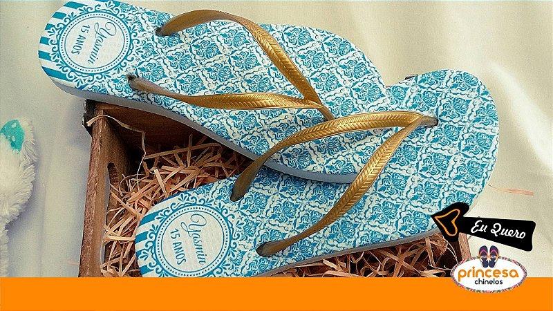 chinelos personalizados para quinze anos - kit com 70 pares linha Premium