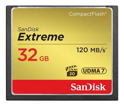 CARTÃO DE MEMORIA CF SANDISK 32GB EXTREME S 120MB/S
