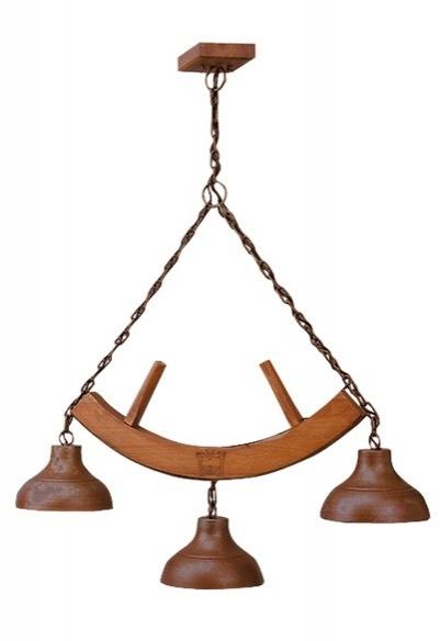 Lustre Estância 3 lâmpadas (oxidado) Madelustre 423