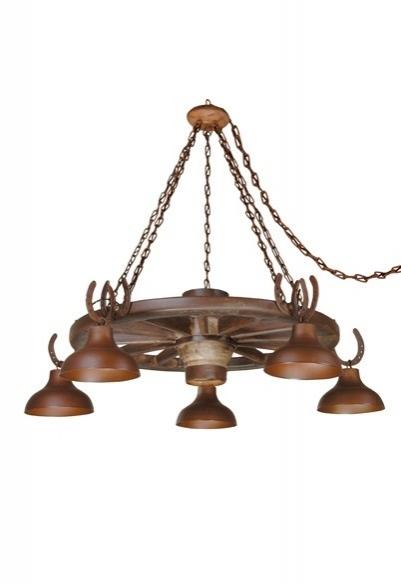 Lustre Roda de Carroça Estancia 5 lamp. (oxidado) Madelustre 425