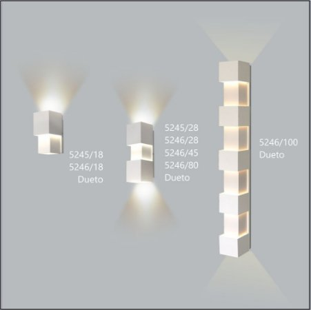 Arandela Quadrada Dueto 28 cm - Usina Design 5246-28