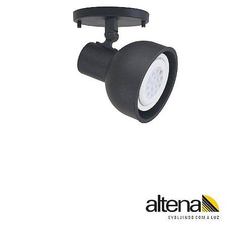Spot Dome com canopla (Preto Fosco) - Altena Iluminação