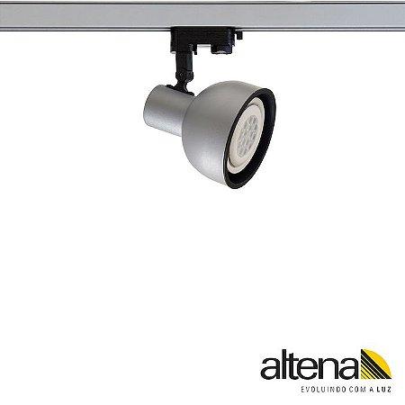 Spot Dome com Plug Altrac PRO para Trilho Eletrificado de três circuitos Platinado - Altena Iluminação
