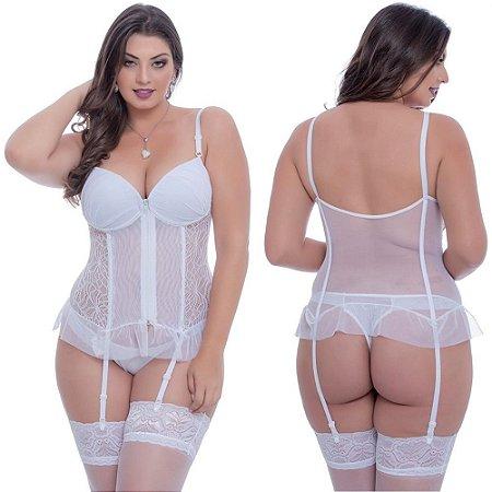 Espartilho Plus Size Tule Com Detalhe Em Renda - Branco