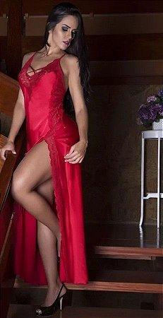 Camisola sensual longa com fenda lateral - Vermelha