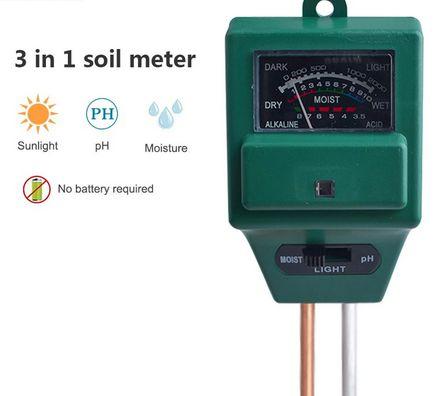Medidor para solo - 3 em 1 pH, Umidade e Luminosidade