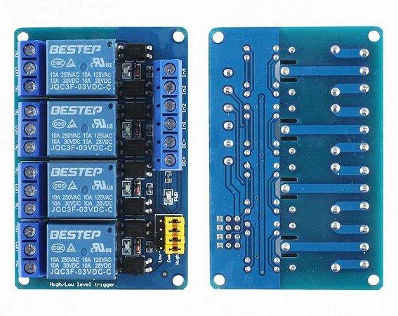 Módulo Relé 4 Canais 3V 10A com Borne KRE para ESP32