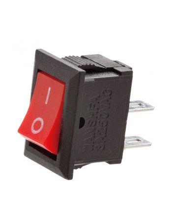 Mini Interruptor Chave Gangorra 2 terminais preto com vermelho 3A/250V - 6A/125V