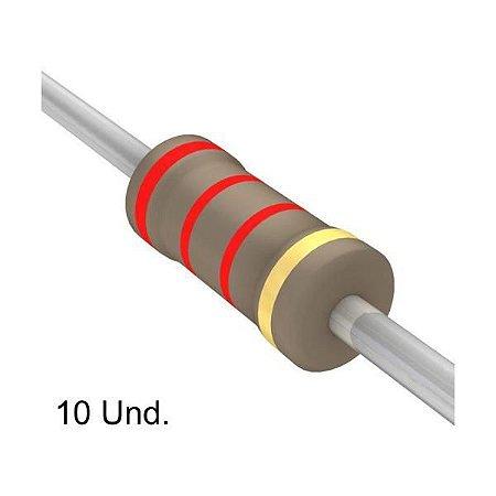 Resistor 1/4W 2K2 Ohms x 10 Unidades