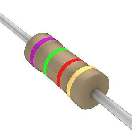 Resistor 1/4W 7K5 Ohms X 10 Unidades
