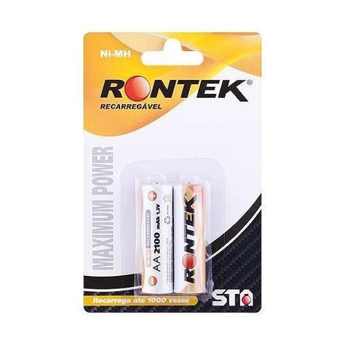 Pilha recarregável 1,2V 2100mAh Rontek - 2 unidades